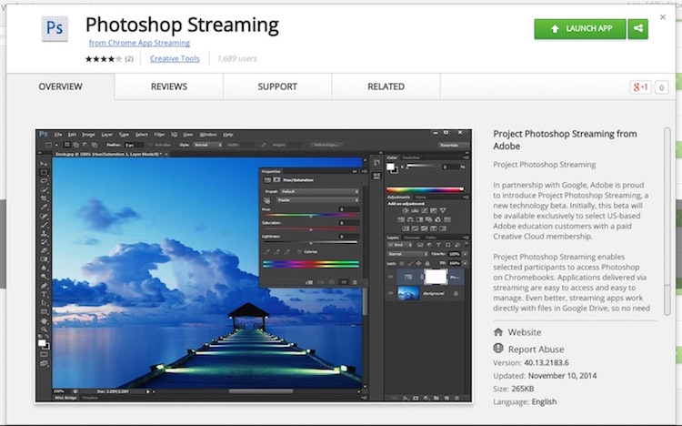 Photoshop Streaming Chromebook